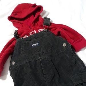 Oshkosh Overalls & Gap hoodie 3-6m